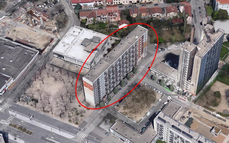 démolition du batiment B Lyon Mermoz